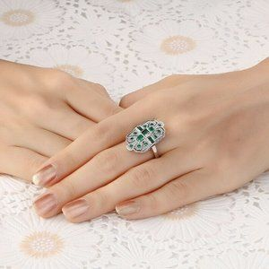 Silver green Cubic Zirconia Ring Size 7